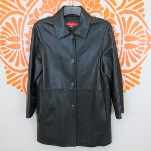 Anne Klein Soft Black Real Leather Coat M